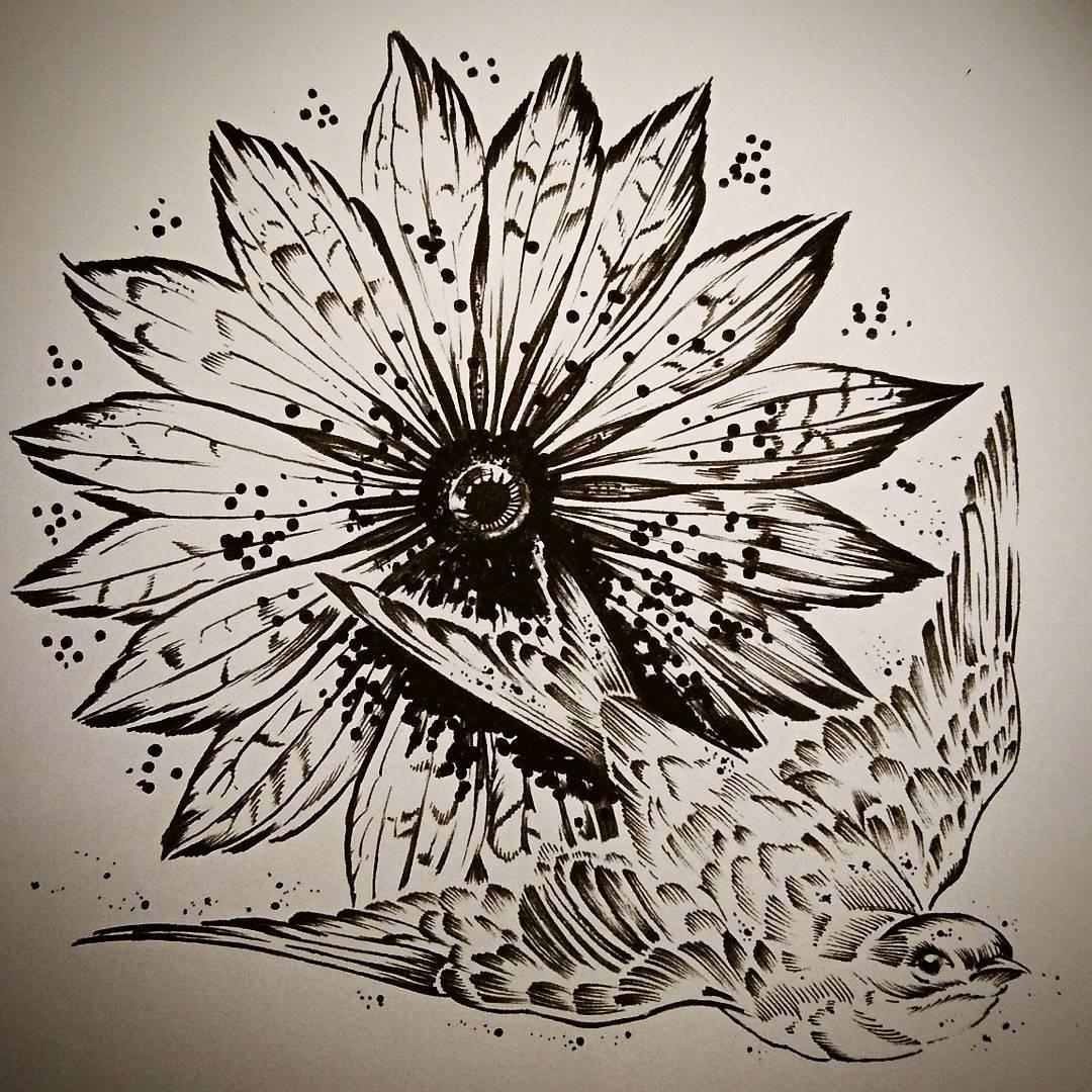 卖镜子的后先生燕子太阳花纹身图案